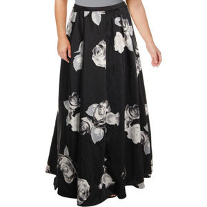 SEQUIN HEARTS GRY BLACK FLORAL MAXI SKIRT PLUS 22